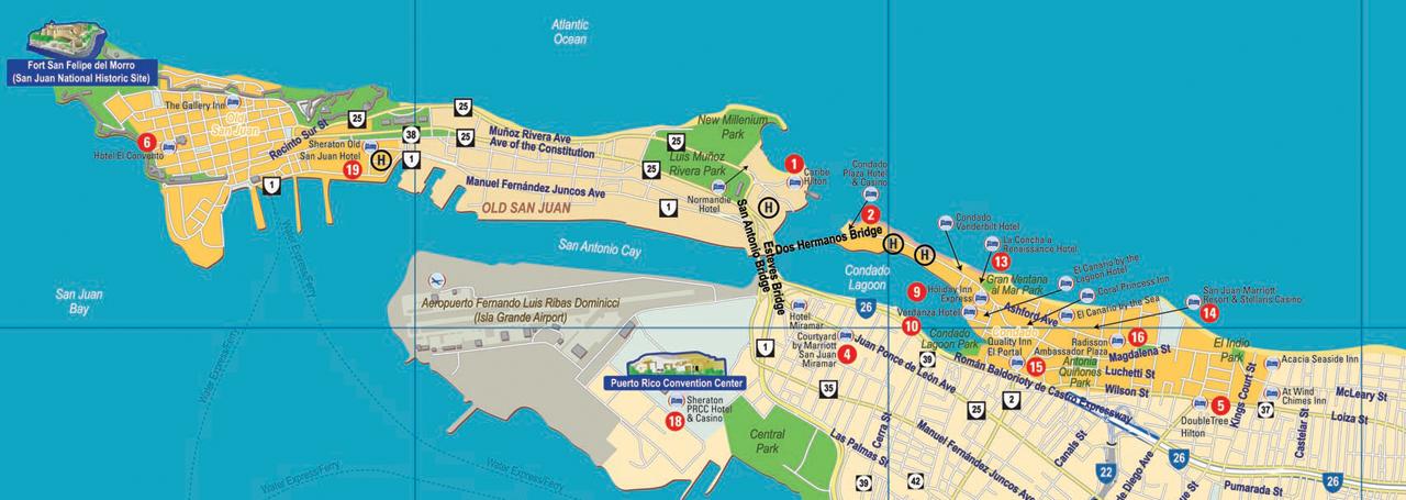 Caribe Hilton Map Condado