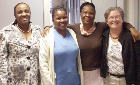 Members of the BLA Executive Committee and BSLA core trainer, Winnie Vitzansky, Gaborone, July 2010
