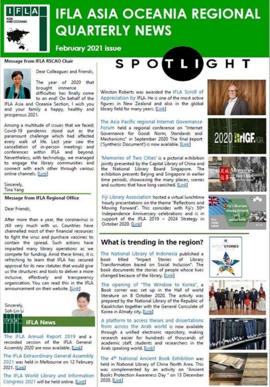 IFLA Asia and Oceania Regional Quarterly News - February 2021 Issue
