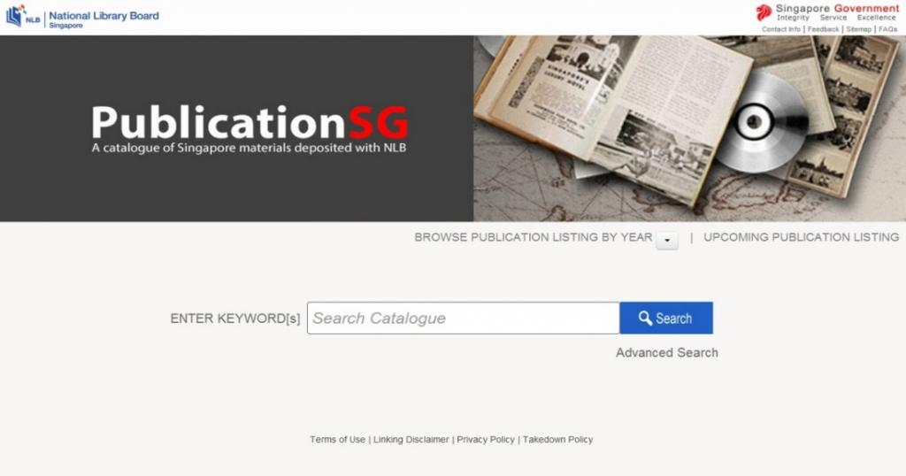 Homepage of PublicationSG – NLB's Legal Deposit Catalogue; Photo courtesy of the National Library Board, Singapore