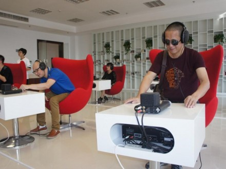Blind readers listening to audiobooks in the Music Hall of Ouhai District Library, Wenzhou City