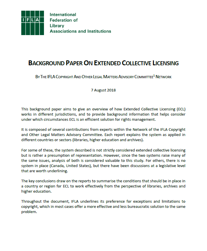 Ifla Background Paper On Ecl