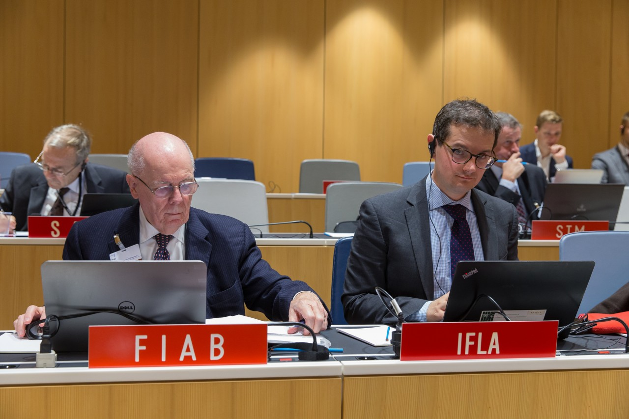 Winston Tabb, head of the IFLA delegation to SCCR, and Stephen Wyber, manager, policy and advocacy, IFLA