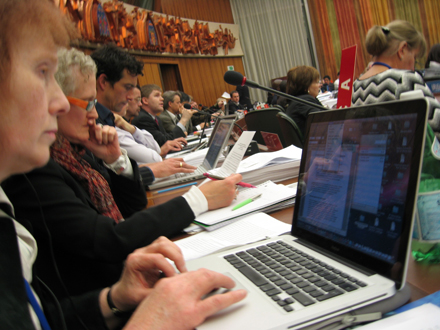 From the floor with Barbara Stratton (IFLA) and Janice Pilch (LCA) on 15 December 2009 (first and second from the left)