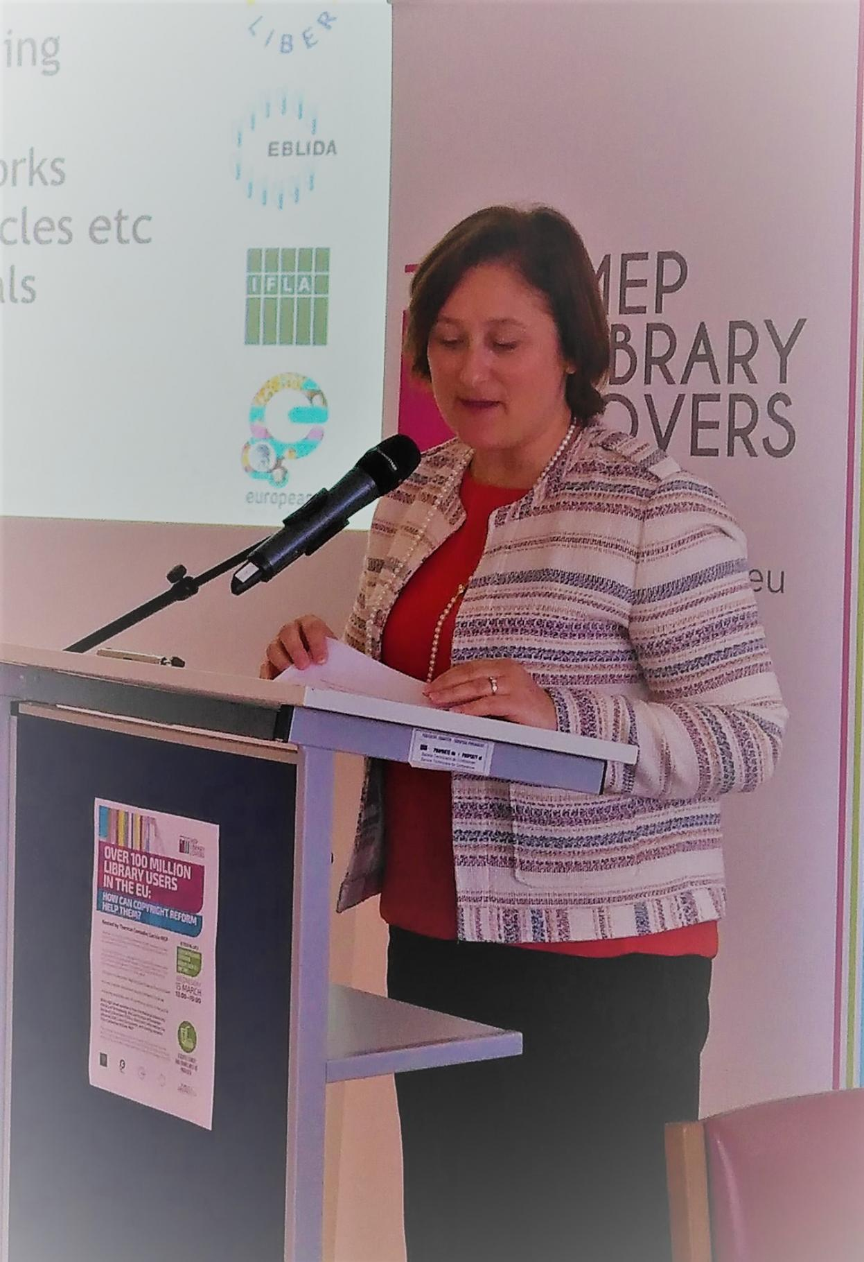 Therese Comodini Cachia MEP at Library Event in Strasbourg