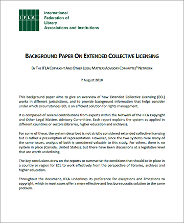 IFLA background paper on extended collective licensing