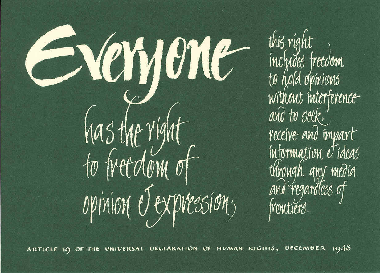 Postcard with the text of Article 19 of the Universal Declaration of Human Rights
