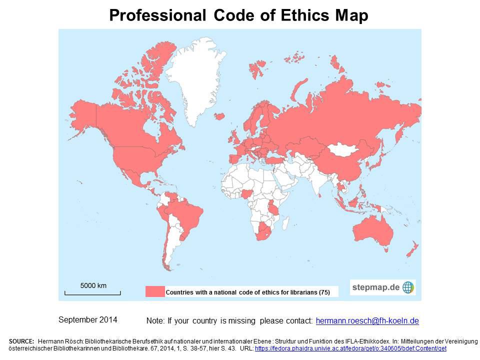 Mapa de Códigos de Ética Profesionales para Bibliotecarios