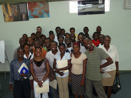 View of the group, with trainers Philippe Colomb and  Marc Jean-Baptiste