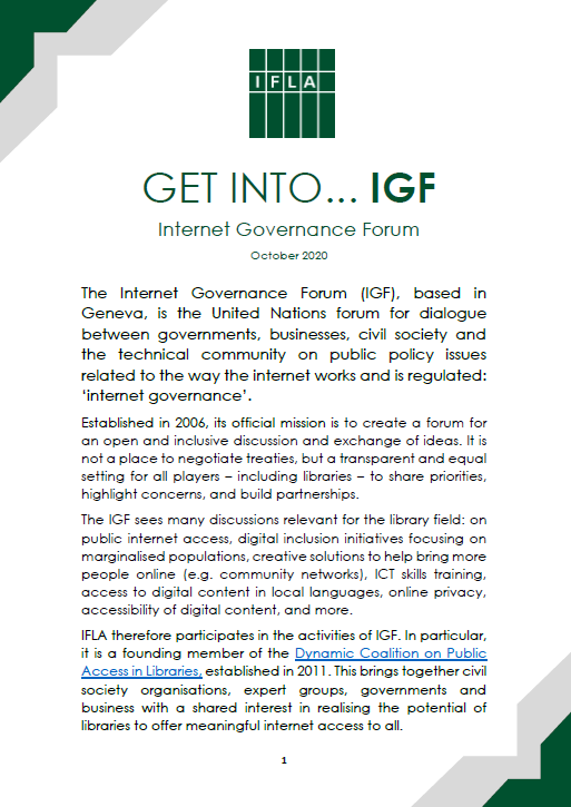 Image of first page of Get into IGF