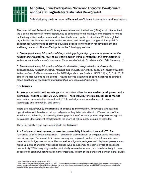 IFLA - OHCHR input - Minority Rights and Sustainable Development
