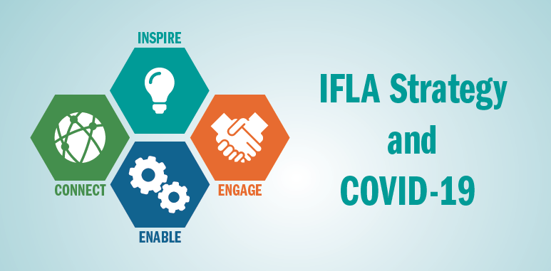 Image: four icons of the IFLA Strategy - inspire, engage, enable, connect. Text: IFLA Strategy and COVID-19