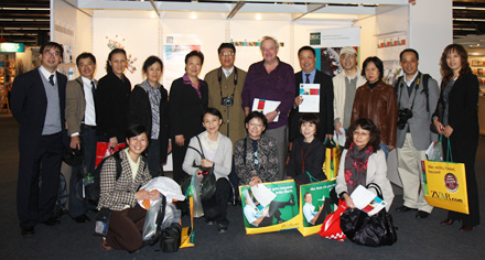 Sjoerd Koopman (centre, purple shirt) and Chinese Colleagues at the Frankfurt Book Fair