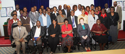 IFLA Secretary General Jennefer Nicholson (seated, second from right) with conference delegates; photo by Jacinta Were