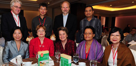 IFLA Secretary General (in red), along with other When Nations Remember attendees