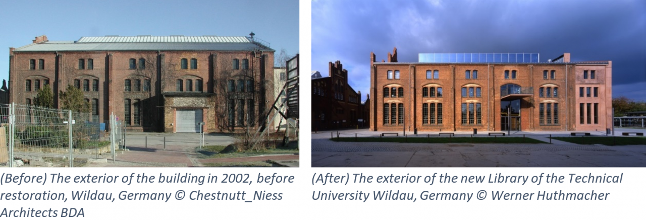 (Before) The exterior of the building in 2002, before restoration, Wildau, Germany, in 2002 © Chestnut_Niess Architects BDA; (After) The exterior of the new Library of the Technical University Wildau, Germany © Werner Huthmacher.