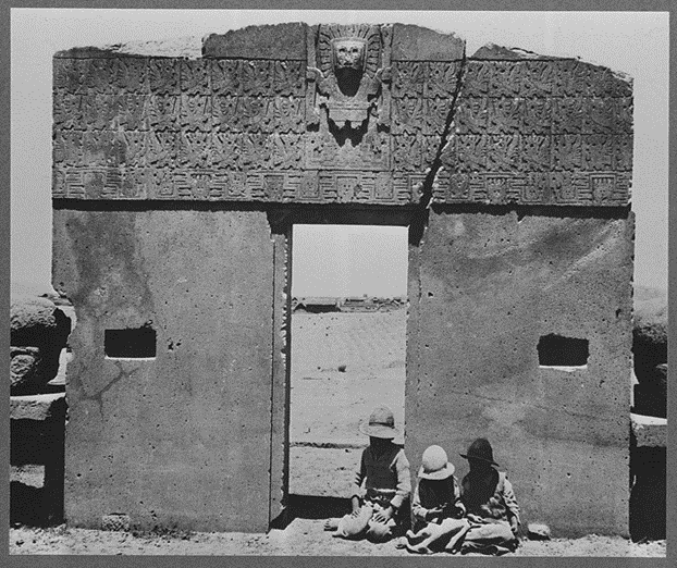 Calendar Gate, ruins of the Puerta del Sol, Tiahuanaco, La Paz, Bolivia. Bolivia Tiwanaku Site, None.  [Between 1920 and 1947] [Photograph Library of Congress]