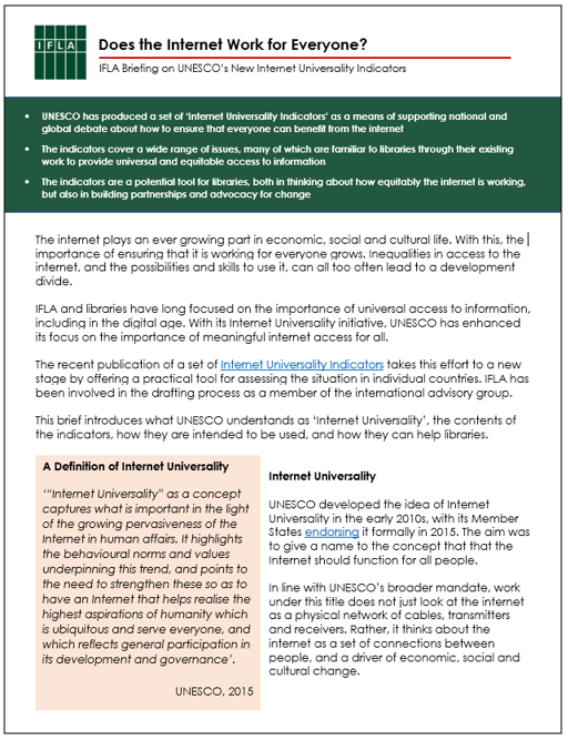 Front page of the IFLA Brief on the UNESCO Internet Universality Indicators