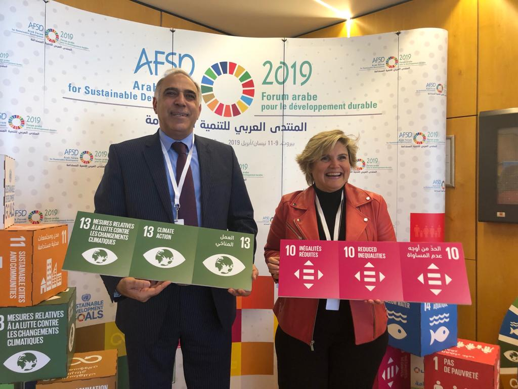 Dr Fawz Absullah and Randa Chidiac at the Arab Forum for Sustainable Development
