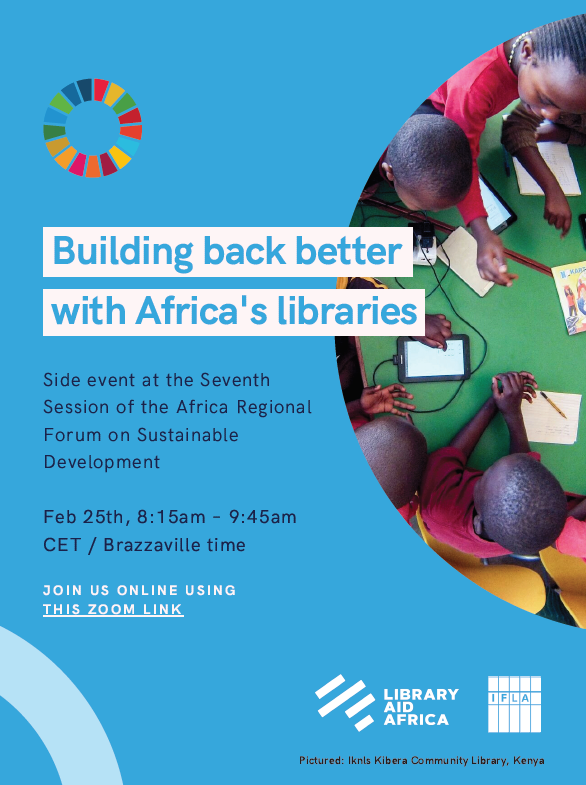 Flyer for side event at the UN African Regional Forum on Sustainable Development - Building Back Better with Africa's libraries