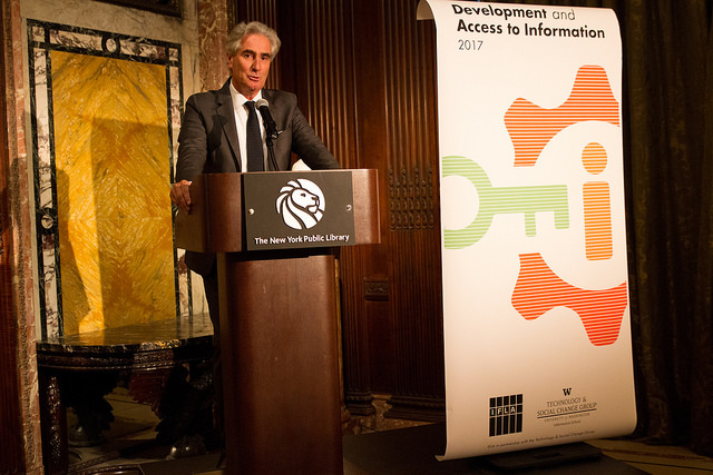 IFLA Secretary General, Gerald Leitner, during his remarks at the DA2I Launch