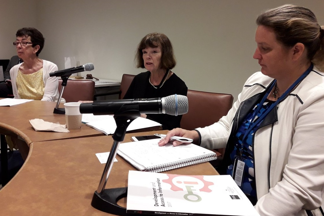 IFLA President, Donna Scheeder with Nancy Hafkin (left) and Quinn McKew (right) during the DA2I Side Event at the HLPF