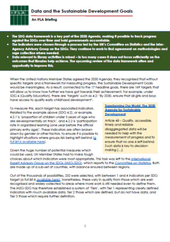 First page of Data and the SDGs brief