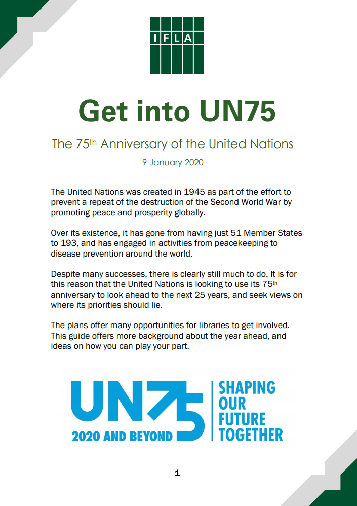 Front page of IFLA Get into UN75 Guide