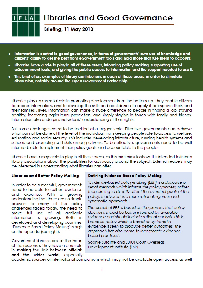 Front page of good governance brief