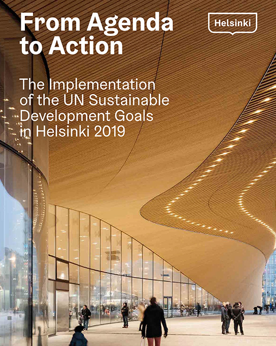 Front cover of Helsinki's Voluntary Local Review, showing the Oodi Public Library