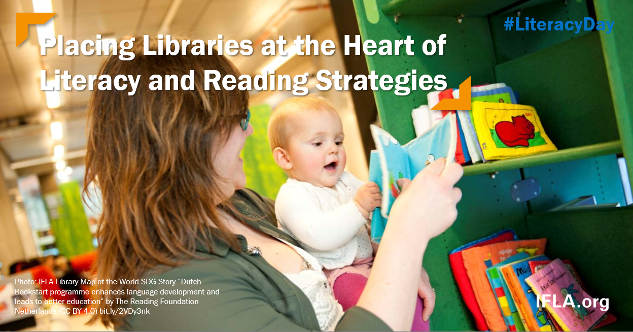 Image: Woman with child looking at books. Text: Placing LIbraries at the Heart of Literacy and Reading Strategies.