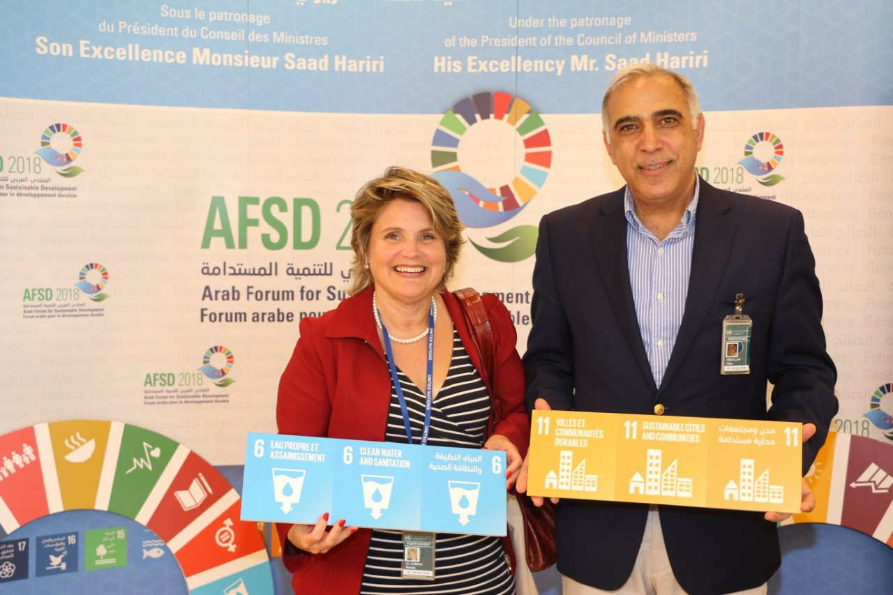 Randa Chidiac and Dr Fawz Abdallah, IFLA and Lebanese Library Association, at the Arab Forum for Sustainable Development