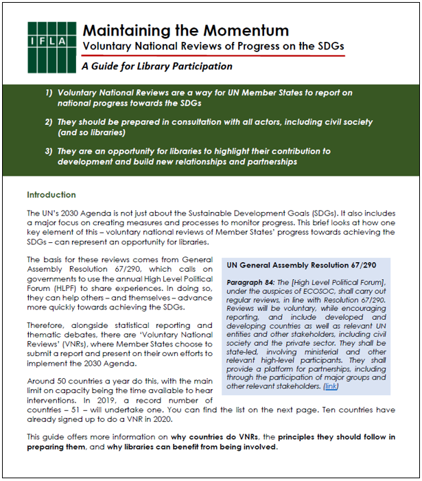 Front page of IFLA Guide to Voluntary National Reviews (2019)