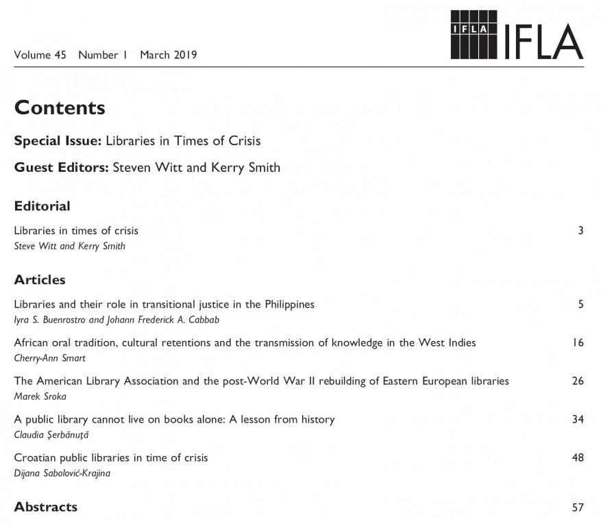 IFLA Journal Special Issue on Libraries in Times of Crisis