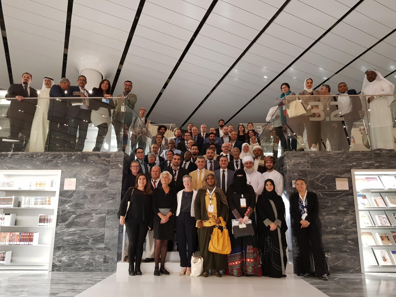 All conference delegates posing together at the Qatar National Library.