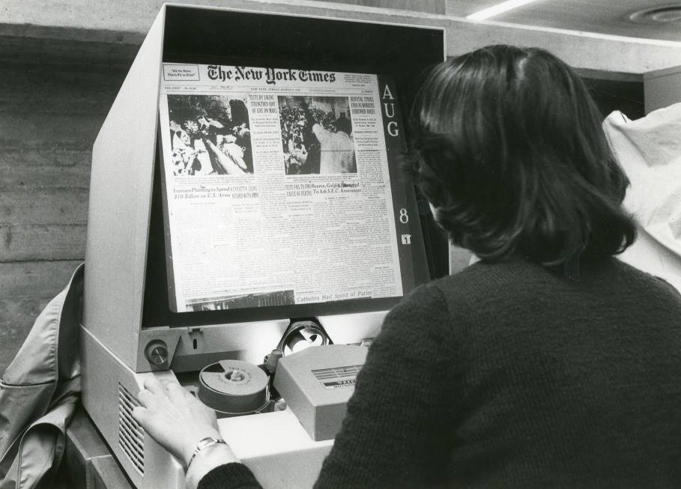 Microfilm readers have been used for decades to view magnified microfilm images.