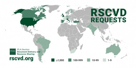 Global map showing Requests per country RSCVD services