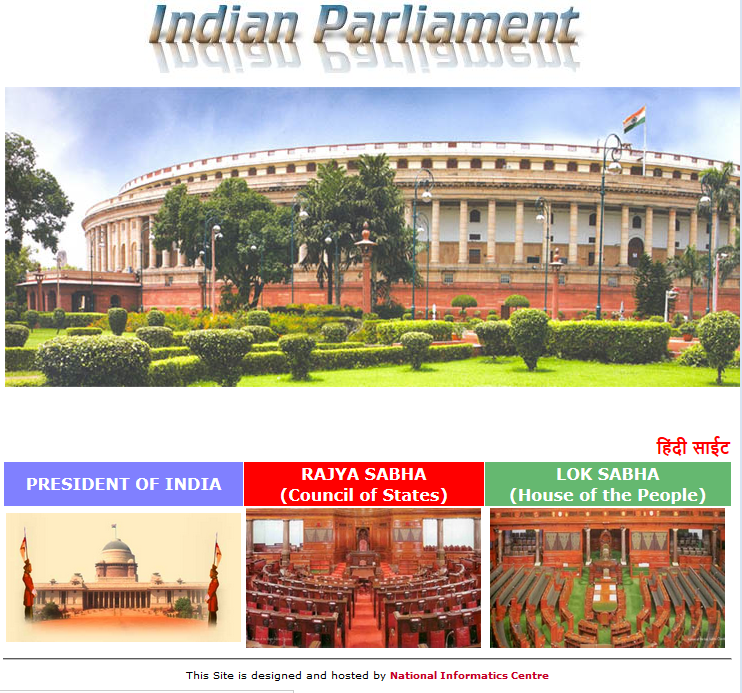 Website of the Parliament of India