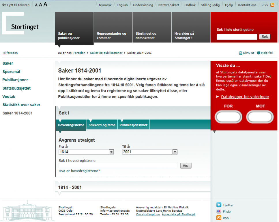 Screenshot of The Sorting's website with digitized proceedings